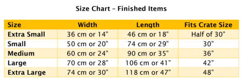 Size chart for animal beds